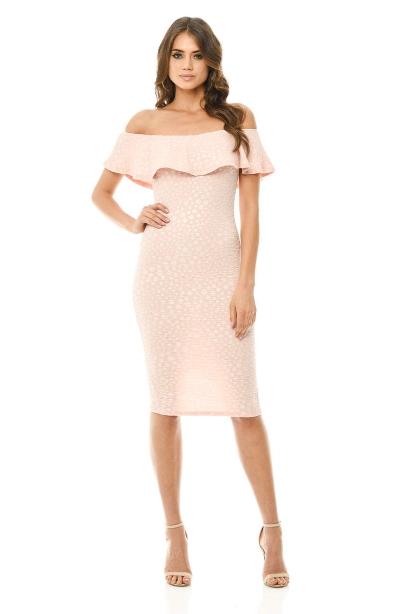 Pink Off The Shoulder Frill Bodycon Midi Dress