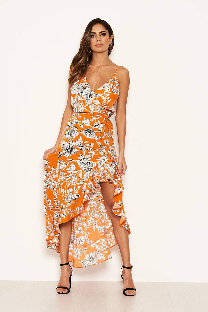 Orange Floral Frill Hem Dress with Tie Waist