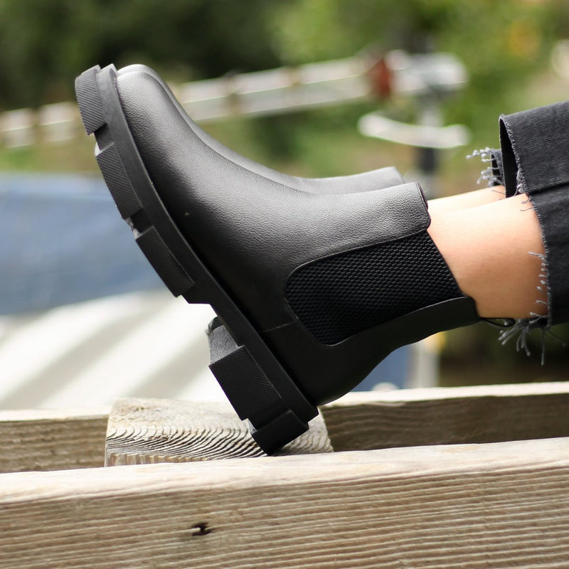 PACE - Black Nappa Chelsea Boot With Elastic Gusset Oversized Sole