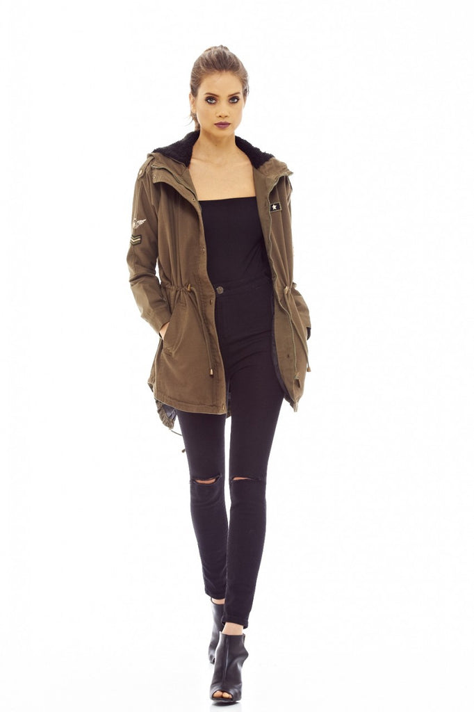 Khaki Parka Jacket with Hood