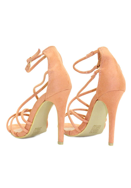 Peach Suede Strappy Front Heels