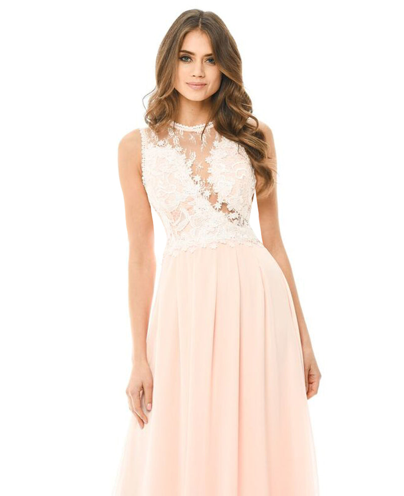 Pink Crochet Top Maxi Dress