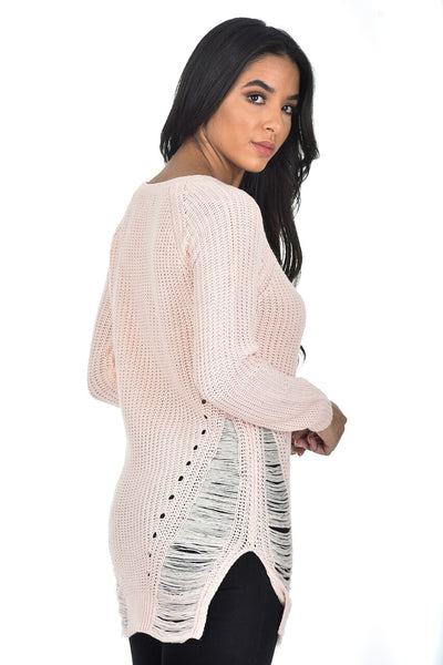 Pink Cable Knit Laddered Jumper