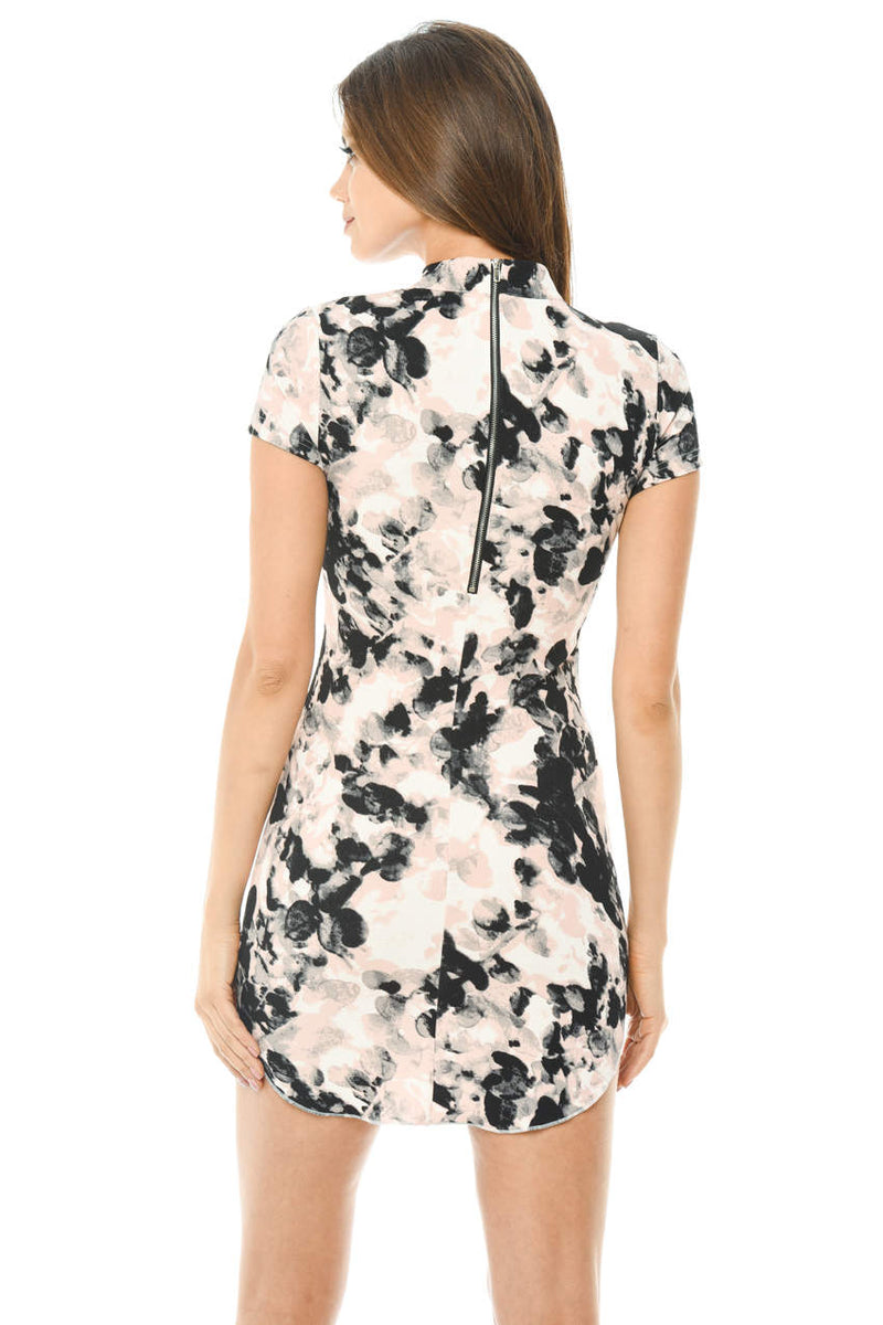 Printed Short Sleeve Bodycon Mini Dress