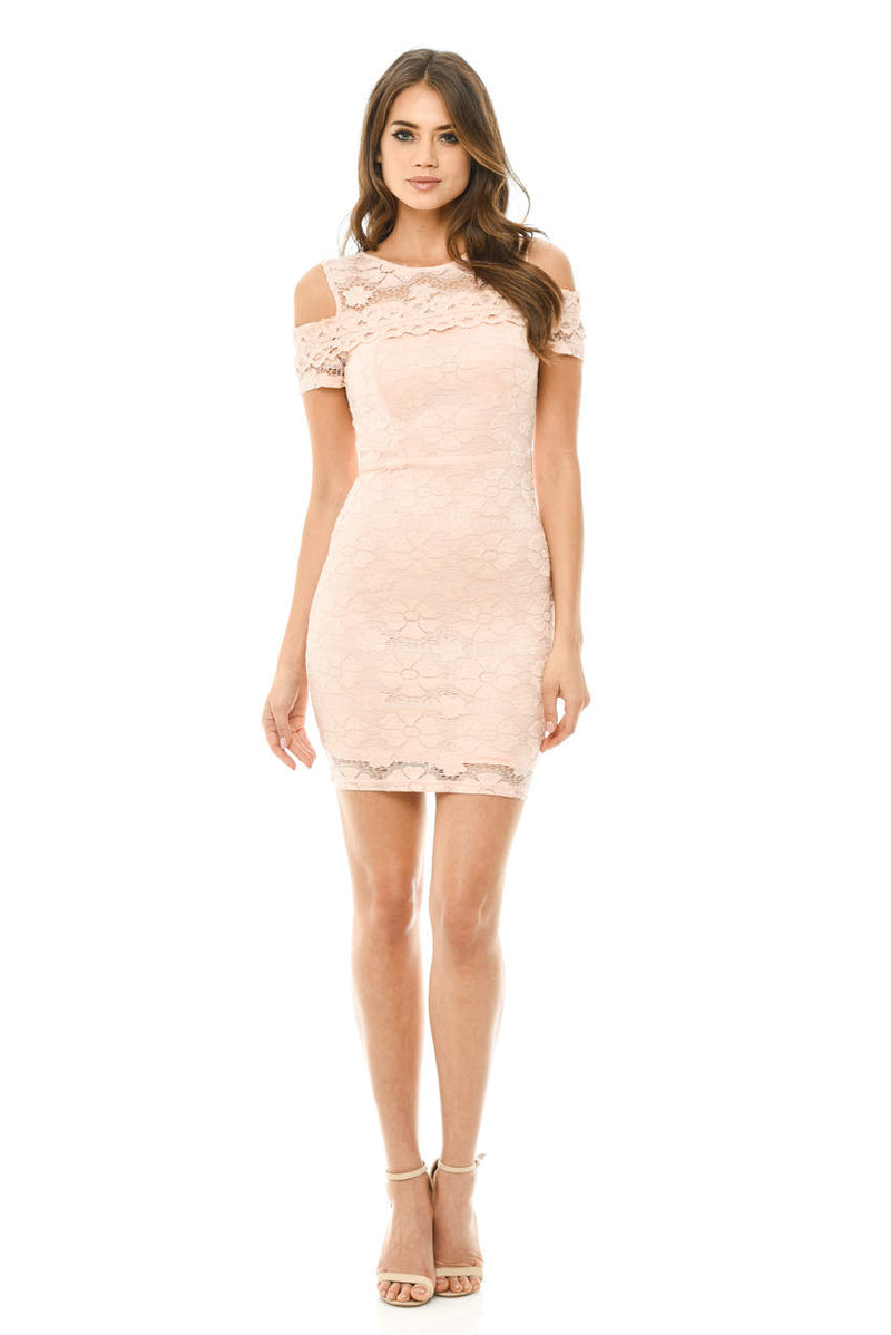 Pink Lace Cut Out Shoulder Fitted Dress