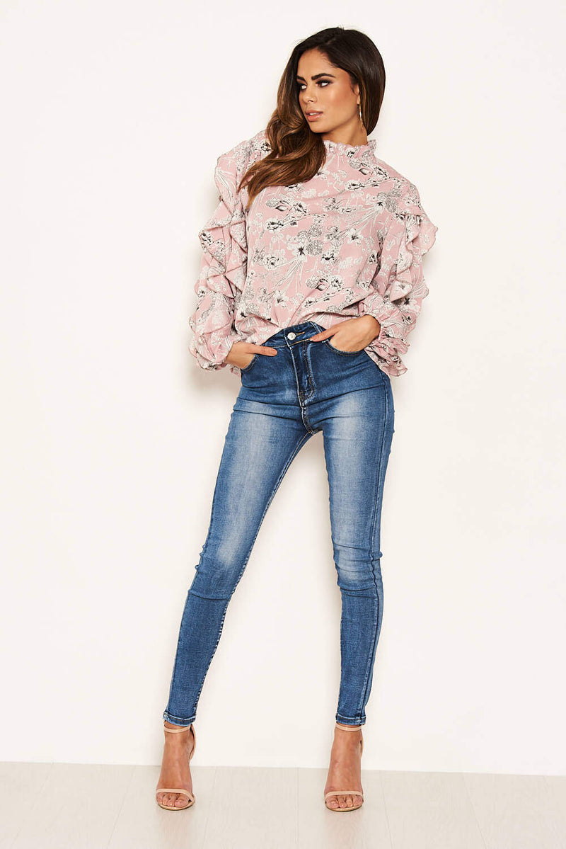 Pink Floral Print Frilled Sleeve High Neck Top