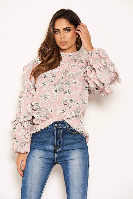 Black High Neck Floral Top