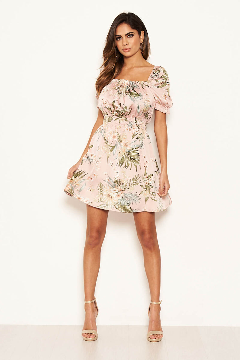Pink Floral Milkmaid Puff Sleeve Dress