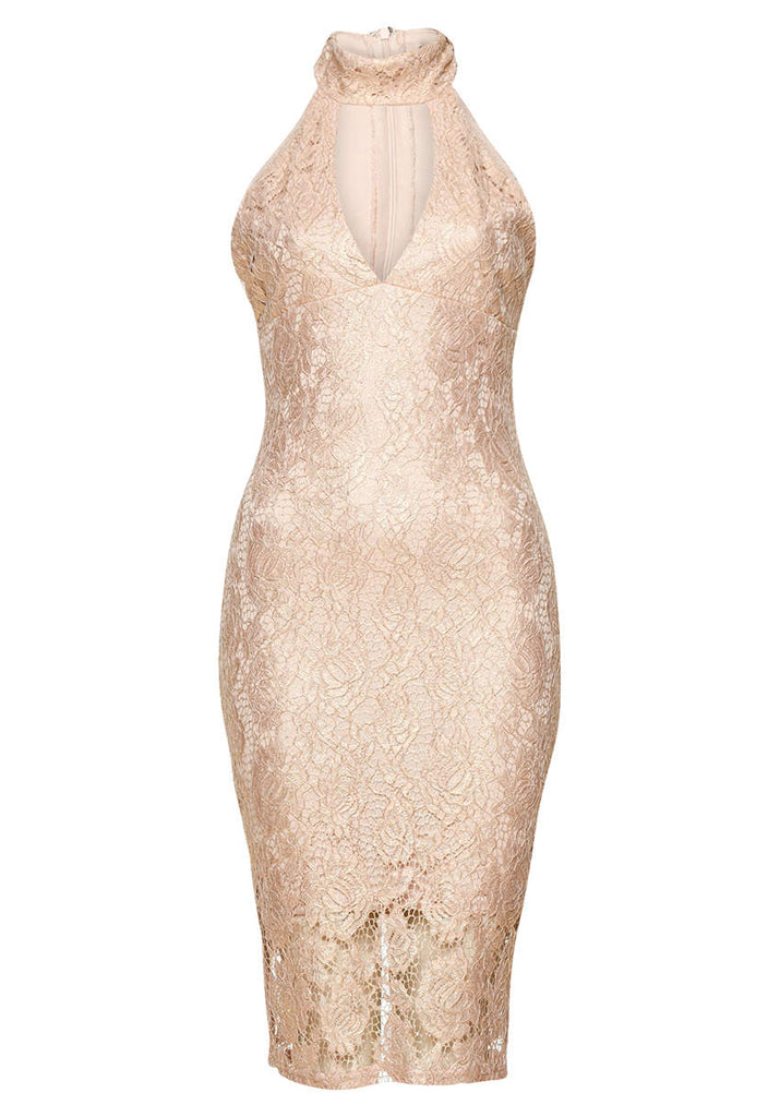 Pink Choker Mini Bodycon Lace Dress
