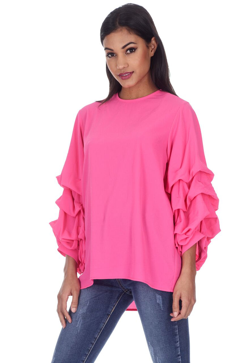 Cerise Ruffle Sleeve Top