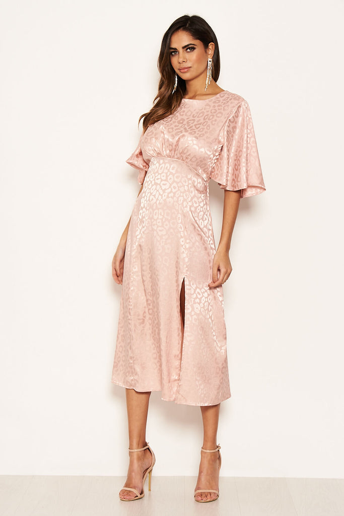 Pink Leopard Print Satin Midi Dress
