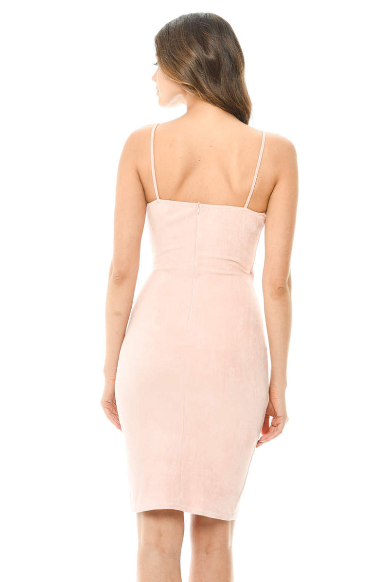 Pink Wrap Front Suede Dress