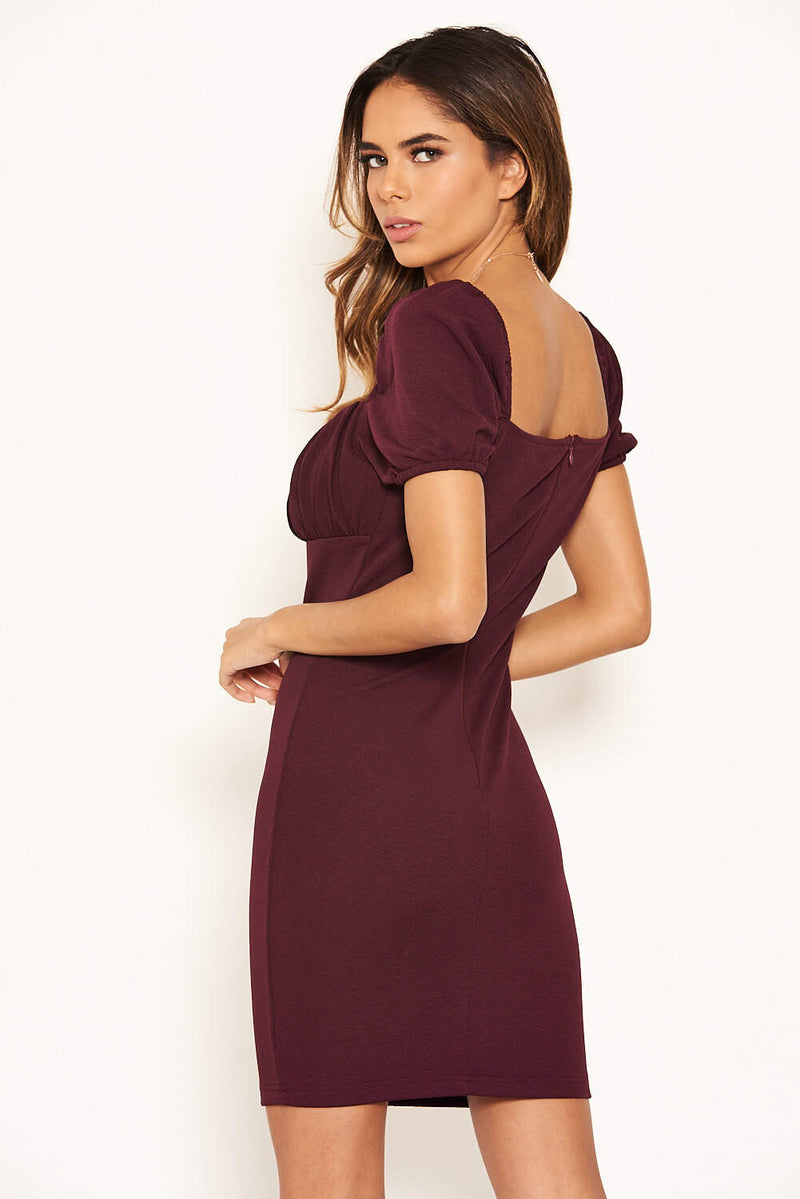 Plum Square Neck Ruched Bodycon Mini Dress