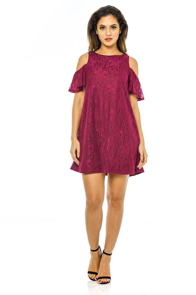 Plum Lace Cold Shoulder  Swing Dress