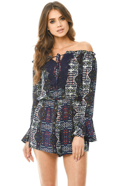 Floral Bell Sleeve Playsuit