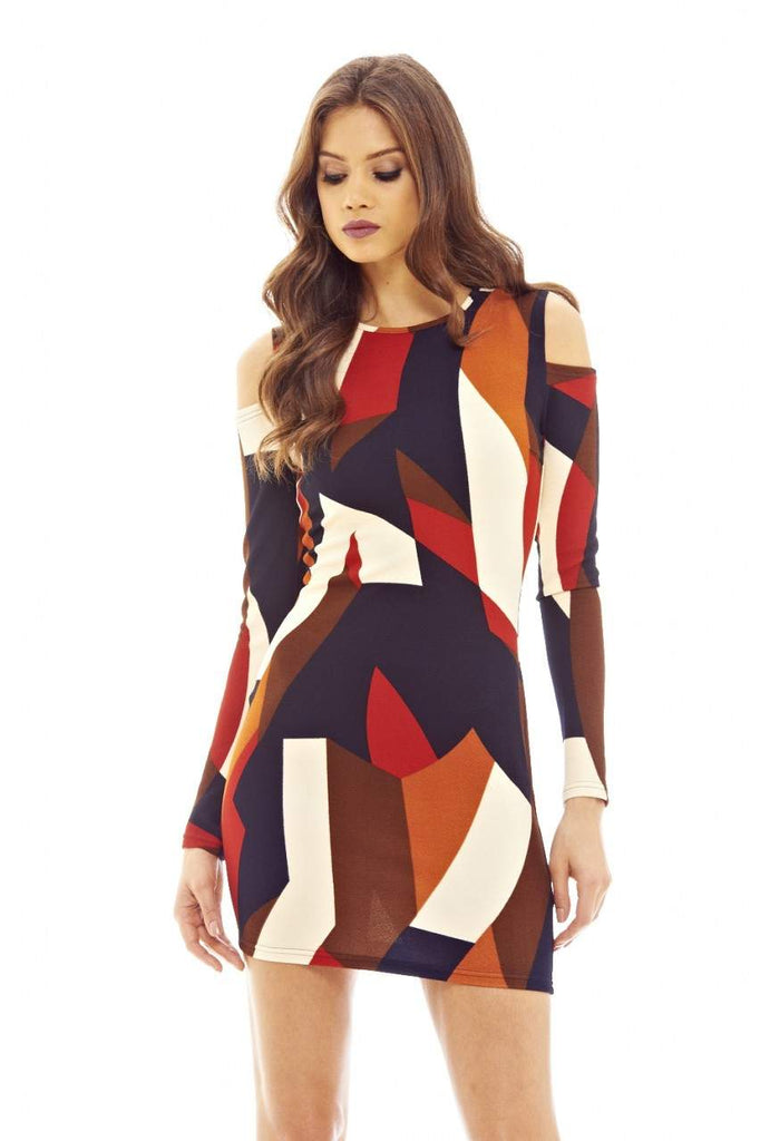 Multi-colour Printed Mini Dress with Cold Shoulder Detail