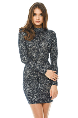 Navy Printed Bodycon Dress