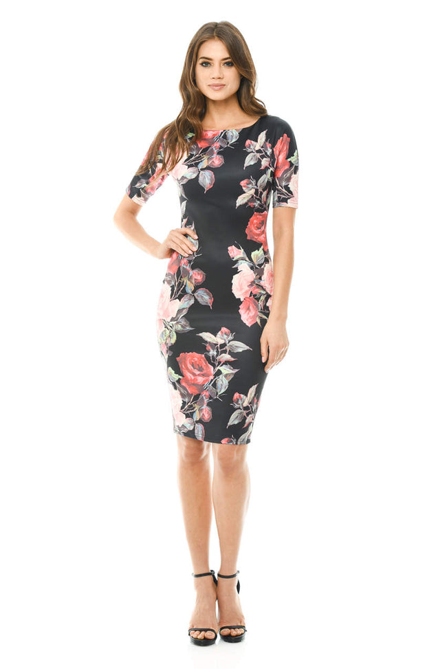 Black Printed 3/4 Sleeve Midi Dress