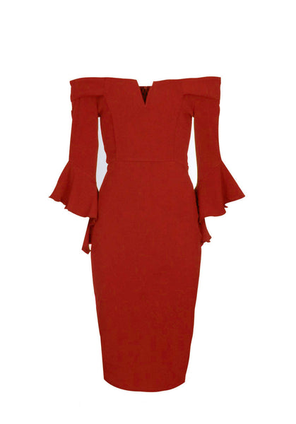 Red Notch Front Frill Sleeve Midi Dress