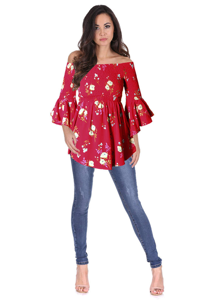 Red Floral Bardot Top