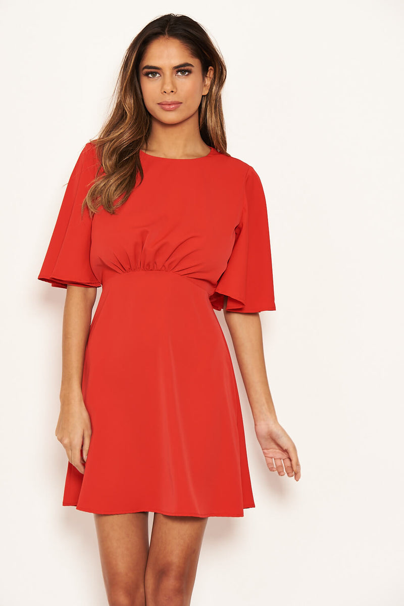 Red Gathered Waist Skater Dress