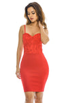 Red  Dress with Lace Bodice  Detail