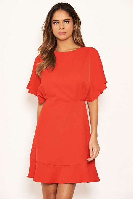 Red One Shoulder Dress With Side Ruched Tie Detail