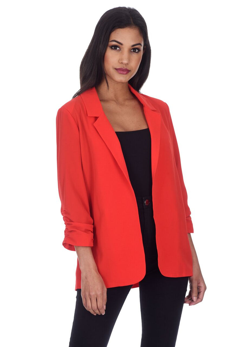 Red Blazer Jacket With Ruched Sleeves