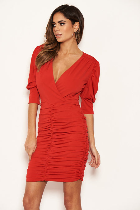 Khaki Long Puff Sleeved Ruched Wrap Dress