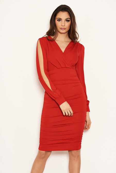 Red Cowl Neck Ruched Side Bodycon Midi Dress