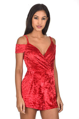 �Red Wrap Front Velvet Playsuit