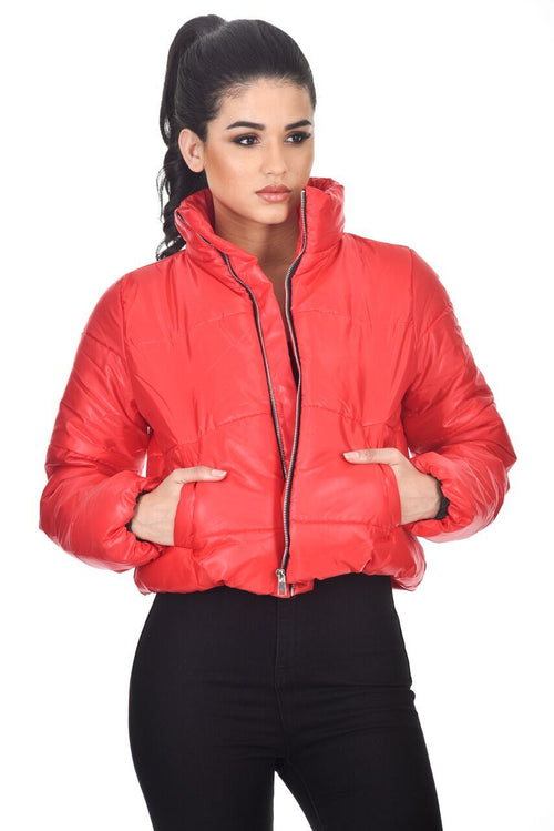 Red Wet Look Puffer Jacket