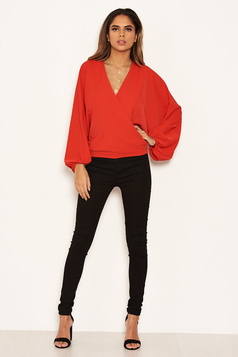 Red Wrap Batwing Sleeve Top