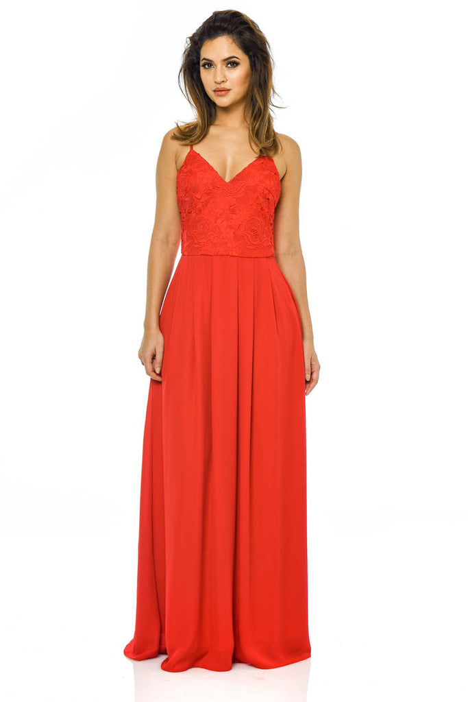 Red Crochet Maxi Dress