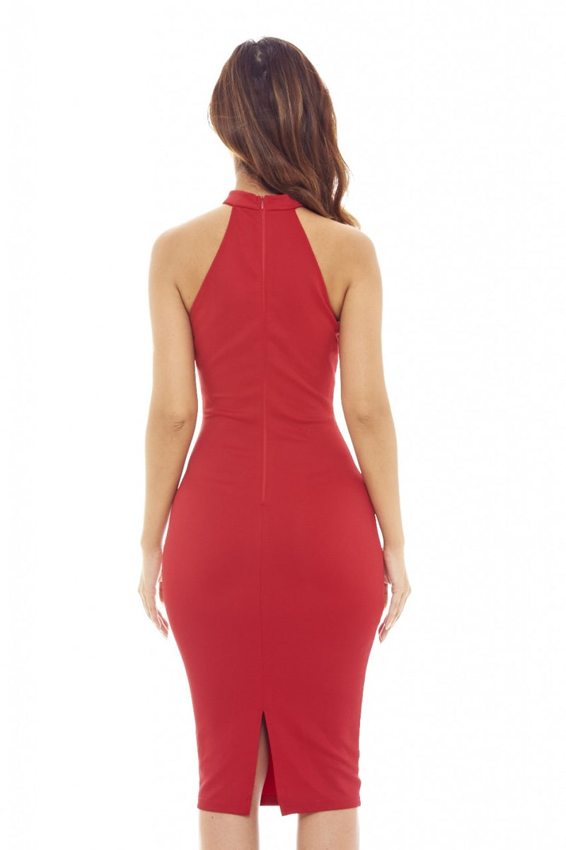 Red  Midi    Dress with Cut Out Neck