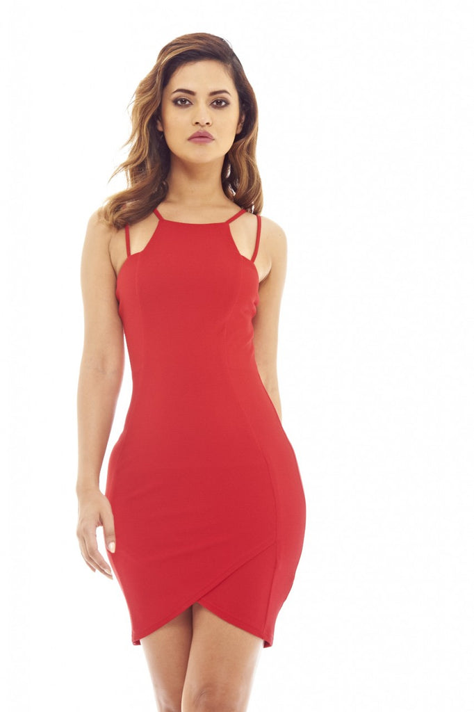Red  Bodycon Mini Dress with Double Strap