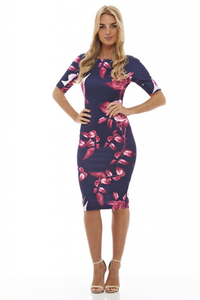 Rose Print Bodycon Dress
