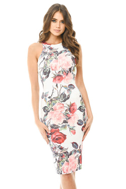 Sleeveless Bodycon Midi Dress with Rose Print