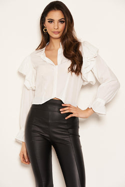 Cream Cropped Frill Sleeve Shirt