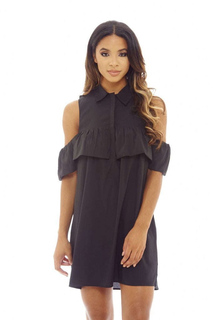 Black Ruffle Cold Shoulder Shirt Dress