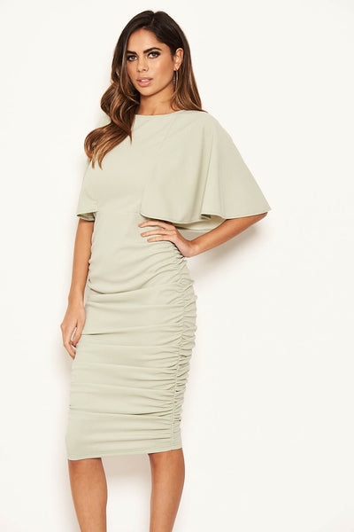 Sage Flared Sleeve Side Ruched Midi Dress