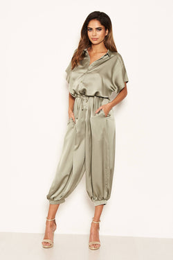 Sage Button Up Jumpsuit