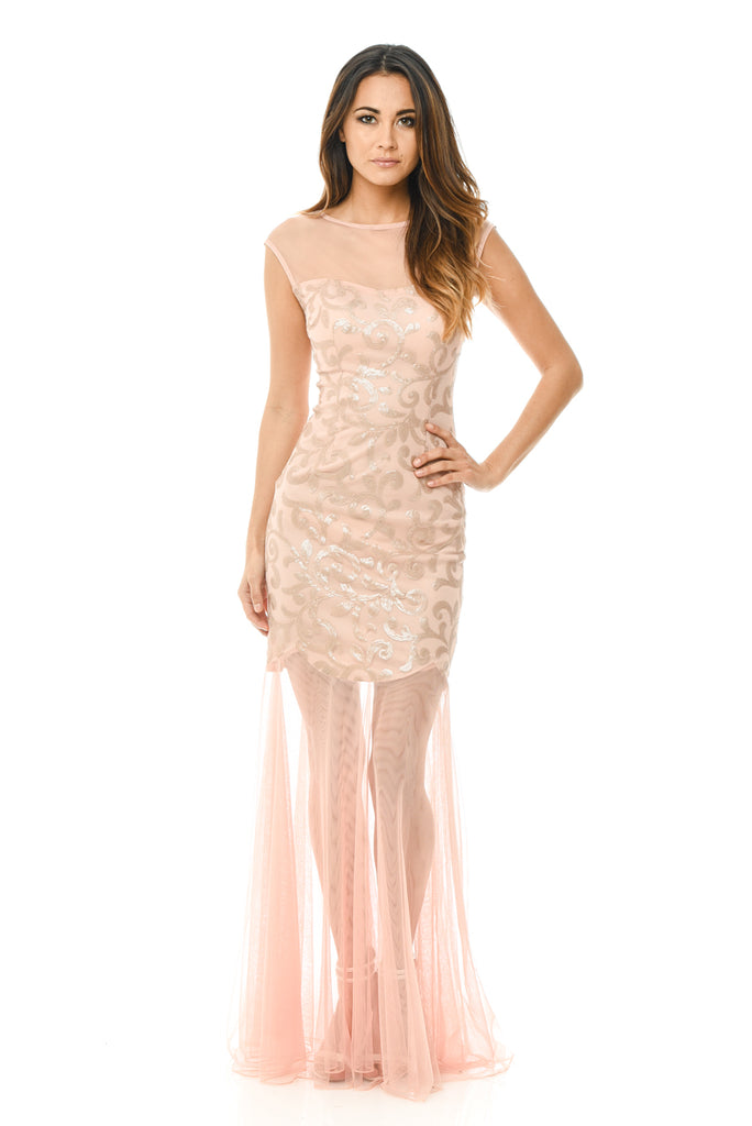 Blush Sequin Bodice Chiffon Maxi Dress