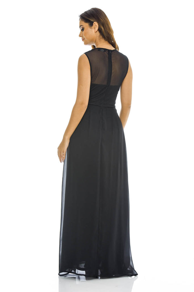 Black Sequin Top Chiffon Maxi Dress