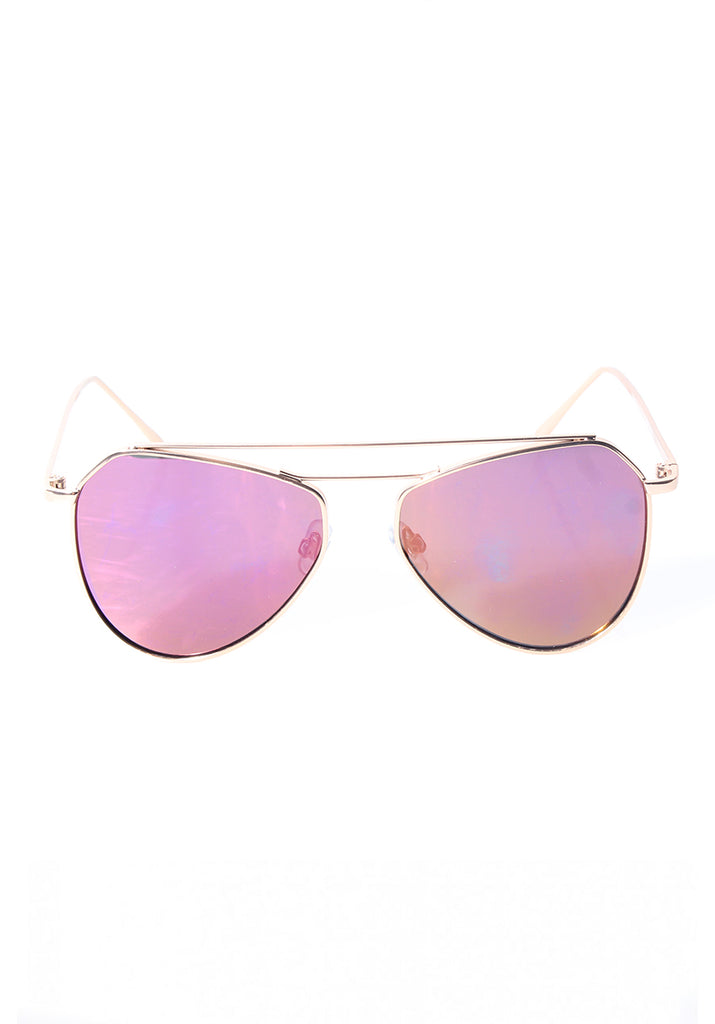 Gold Framed Aviator Sunglasses with Pink Mirrored Lenses