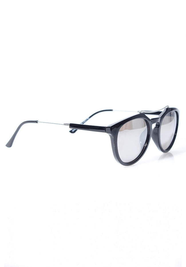 Black Mirrored Sunglasses with Metallic Bridge Detail