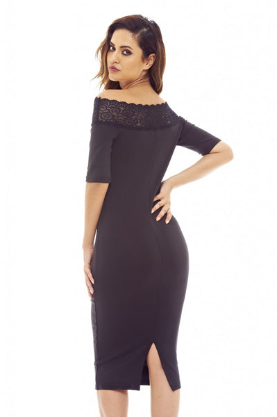 Black Midi Dress with Lace Trim