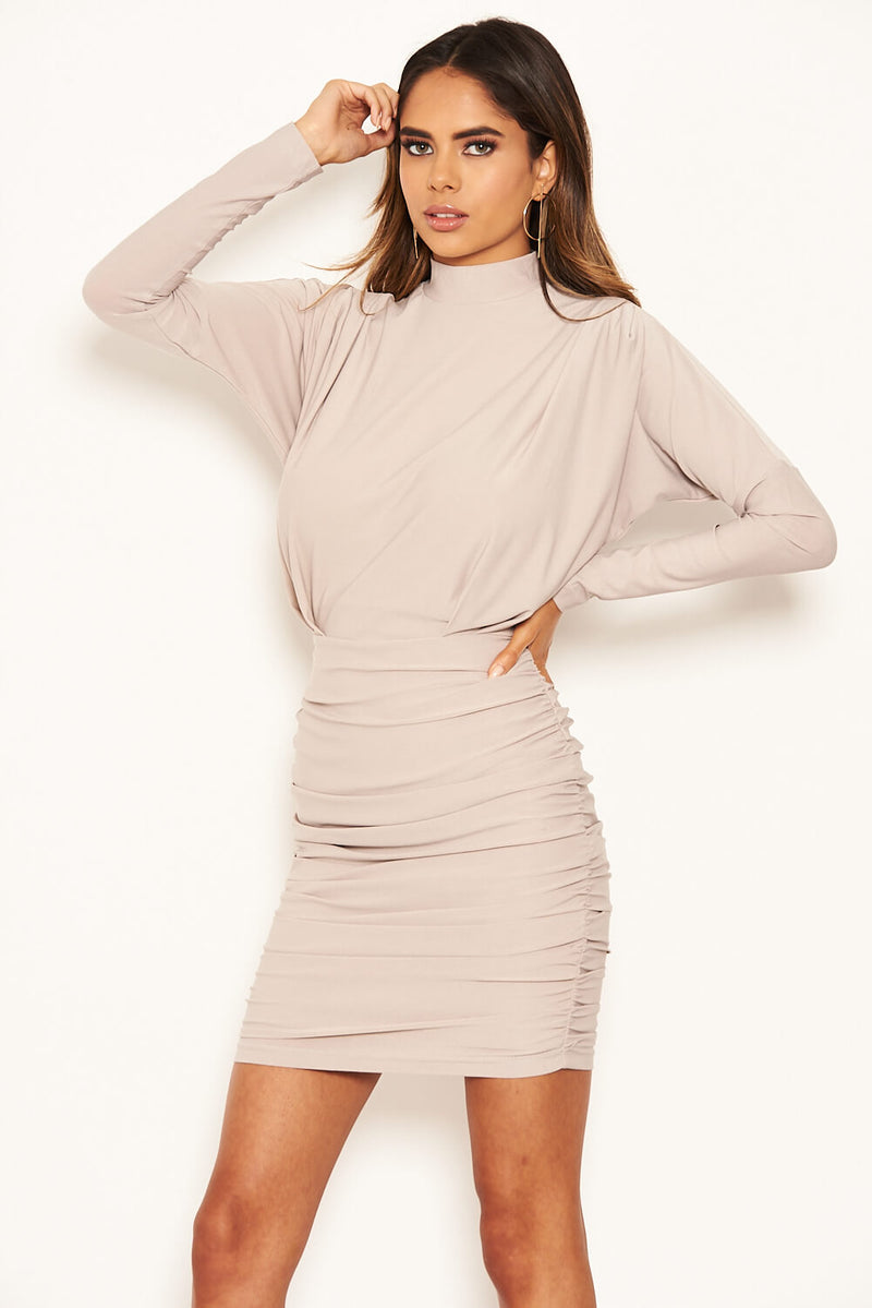 Silver Long Sleeve Back Ruched Bodycon Dress