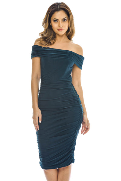 Teal Off Shoulder Ruched Dress