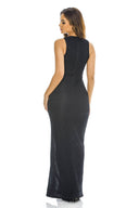 Black Off The Shoulder   Slinky Maxi Dress